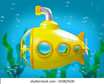 cartoon yellow submarine side view under water. 3d illustration