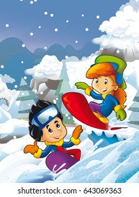 Cartoon young boy and girl doing freestyle slide snowboard