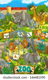 Cartoon zoo - amusement park - illustration for the children