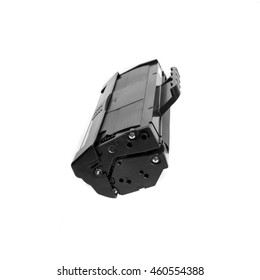 Cartridge for laser printer toner filled, ready to use on a white background, side view