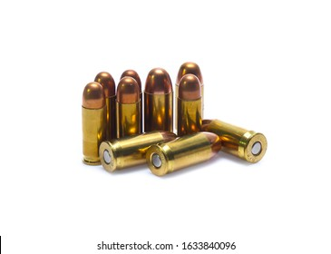 cartridges of .45 ACP pistols ammo isolated