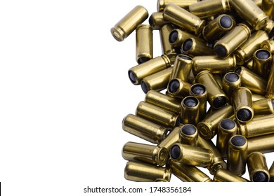 A lot of cartridges for a traumatic gun on a white background