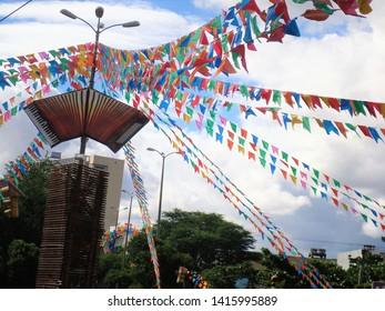 Caruaru/Pernambuco/Brazil - June 5, 2010: multicolored street ornaments for the feast of St. John in Caruaru, Pernambuco, Brazil.