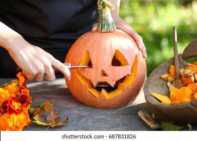 Karpfenkürbis zu Halloween
