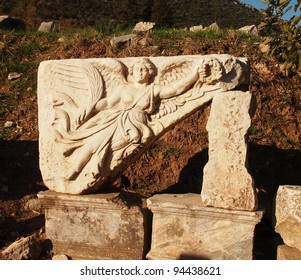 Carved Angel of Victory on a monument in the ancient ruins of Ephesus, Turkey