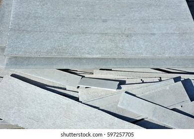 Carved Asbestos Cement Wallboard On Construction Site