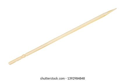 carved birch wood toothpick isolated on white background