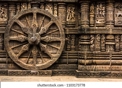 Carved chariot wheel on Konark Sun Temple, Odisha, India