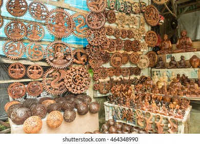 Carved coconut shell. Crafts of indigenous people in Bali, Indonesia.