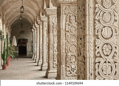 Carved columns of Church of the company, Arequipa