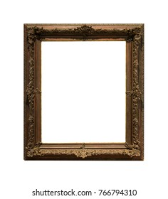 The carved dark wooden picture frame isolated on white background