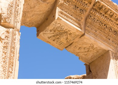 Carved decors in ancient roman temple of Bacchus, Baalbec heritage site, Lebanon.