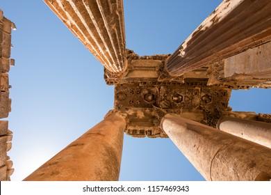 Carved decors in ancient roman temple of Bacchus, Baalbec heritage site, Lebanon., Baalbec heritage site, Lebanon.