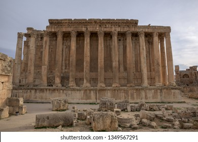 Carved decors in ancient roman temple of Bacchus, Baalbek heritage site, Lebanon.