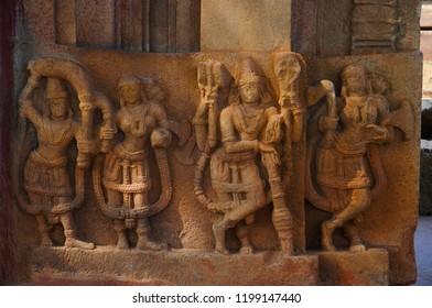 Carved figure, Ramappa Temple, Palampet Warangal Telangana India
