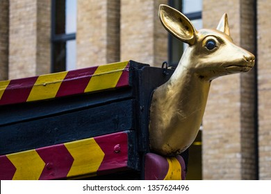 The carved figurehead of a Hind on the replica of the Golden Hind galleon ship in London. The ship is known for her circumnavigation of the globe in the 16th century, captained by Sir Francis Drake.