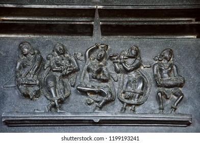 Carved figures, Ramappa temple, Warangal Telangana India