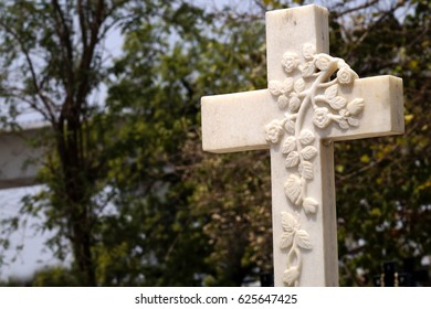 Carved Floral Design on Tombstone or Headstone in Christian Grave Yard