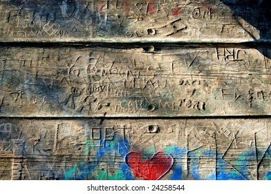 Carved Graffiti planks with oblique lighting