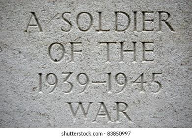 Carved Gravestone Inscription from World War Grave.