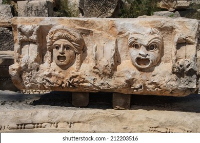 Carved Greek masks as decoration from the theatre of of Myra,  Turkey