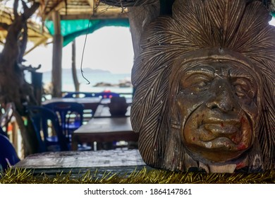A carved head of a native at Phi Phi in Thailand