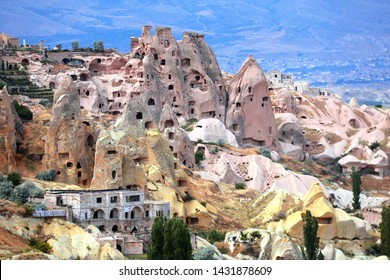 Carved houses in rock in Pigeon Valley, Uchisar, Cappadocia, Turkey