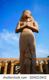 Carved idol of Ramses Second, Built in Yellow Limestone, Situated at Karnak Temple complex