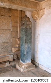 Carved inscriptions in Kannada on the stone pillar at the entrance of Kattale Basadi Chandragiri hill, Sravanabelgola, Karnataka India