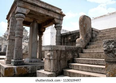 Carved inscriptions in Kannada on the stone pillar at the entrance of Eradukatte Basadi, Chandragiri hill, Sravanabelgola, Karnataka India
