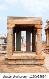 Carved inscriptions in Kannada on the stone pillar, Chandragiri hill, Sravanabelgola, Karnataka