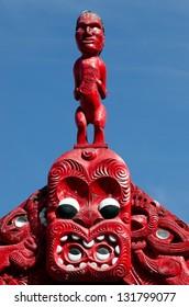 Carved maori marae - meeting house in Taumarunui, New Zealand.