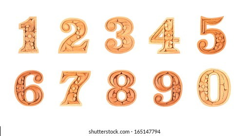 Carved number isolated on white background