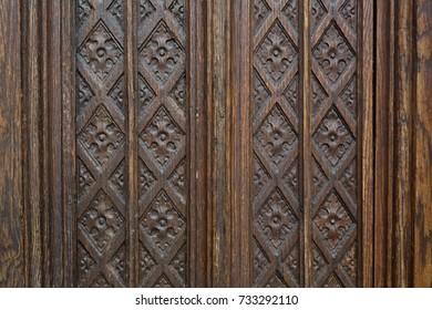 Carved old wooden door