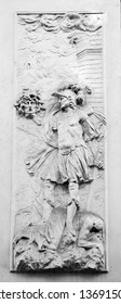 Carved panel of Perseus cutting the head of the Medusa on a door portal on the exterior wall of Prinz Eugen of Savoy's winter palace (Stadtpalais), work added by Johann Lucas von Hildebrand  in 1723.