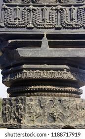 A carved pillar, thoranan arches, Warangal Fort, Warangal, Telangana.