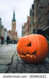 Carved pumpkin in Gdansk, Poland