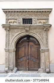 """Carved Renaissance portal of a house """"By two Golden bears"""" One of the most beautiful in Prague. Czech Republic."""