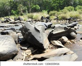Carved riverine rock at Sahasralinga is situated in river Shalmala, Sirsi Taluk in the district of Uttara Kannada of Karnataka state in India.