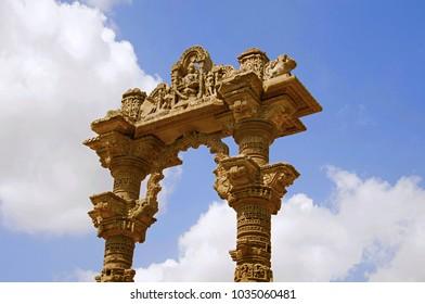 Carved ruins of Kirti Toran, Vadnagar, Gujarat