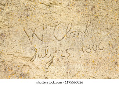 Carved signature of William Clark, Lewis and Clark Trail, Pompeys Pillar National Monument, Montana, USA