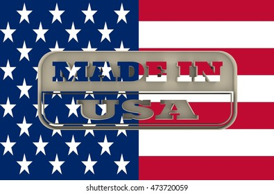 Carved stamp with made in USA text. 3d rendering. National flag