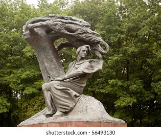 Carved statue of Frederick Chopin in Royal Park in Warsaw Poland