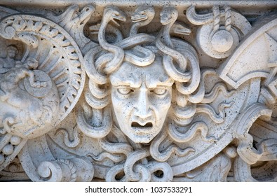 Carved Stone Panel of Medusa