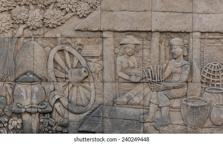 carved in the temple, Thai farmer life