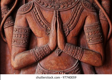 The carved in Thai temple