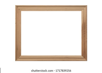 carved vintage wooden photo picture frame isolated on white background.