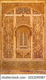 Carved window in Mandir Palace, Jaisalmer, Rajasthan, India