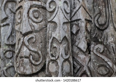 carved wodden Tam Tam poles at island of Vanuatu south pacific ocean