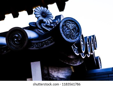 Carved wood roof detail from an old temple in Kyoto, Japan.